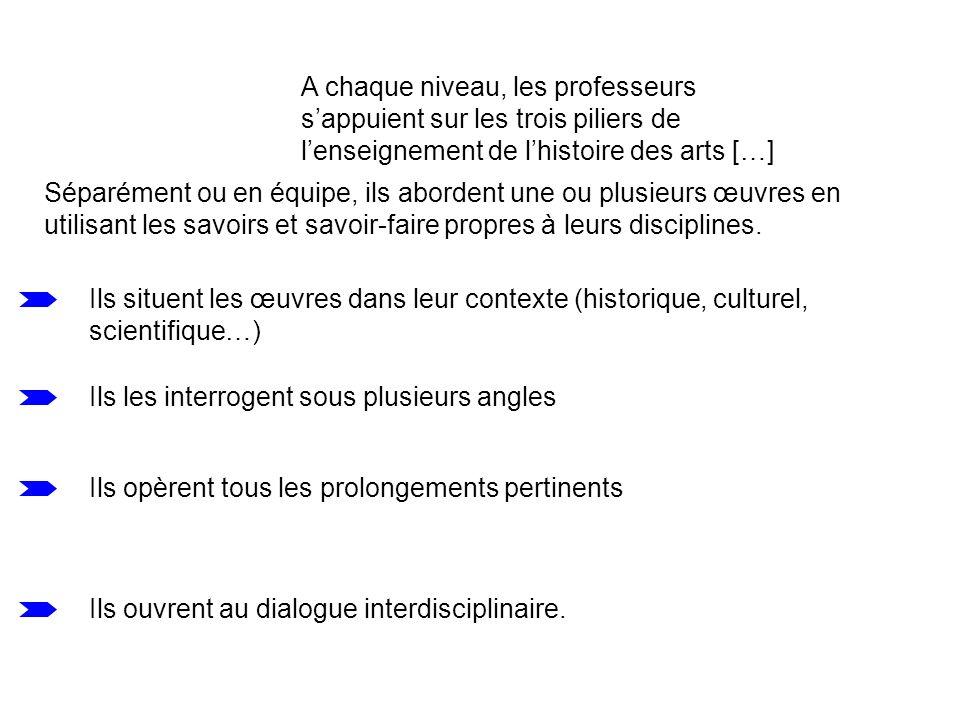 A chaque niveau, les professeurs s'appuient sur les trois piliers de l'enseignement de l'histoire des arts […]